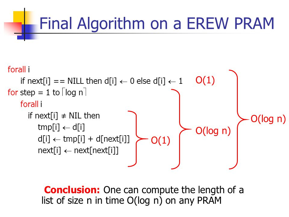 Final Algorithm on a EREW PRAM