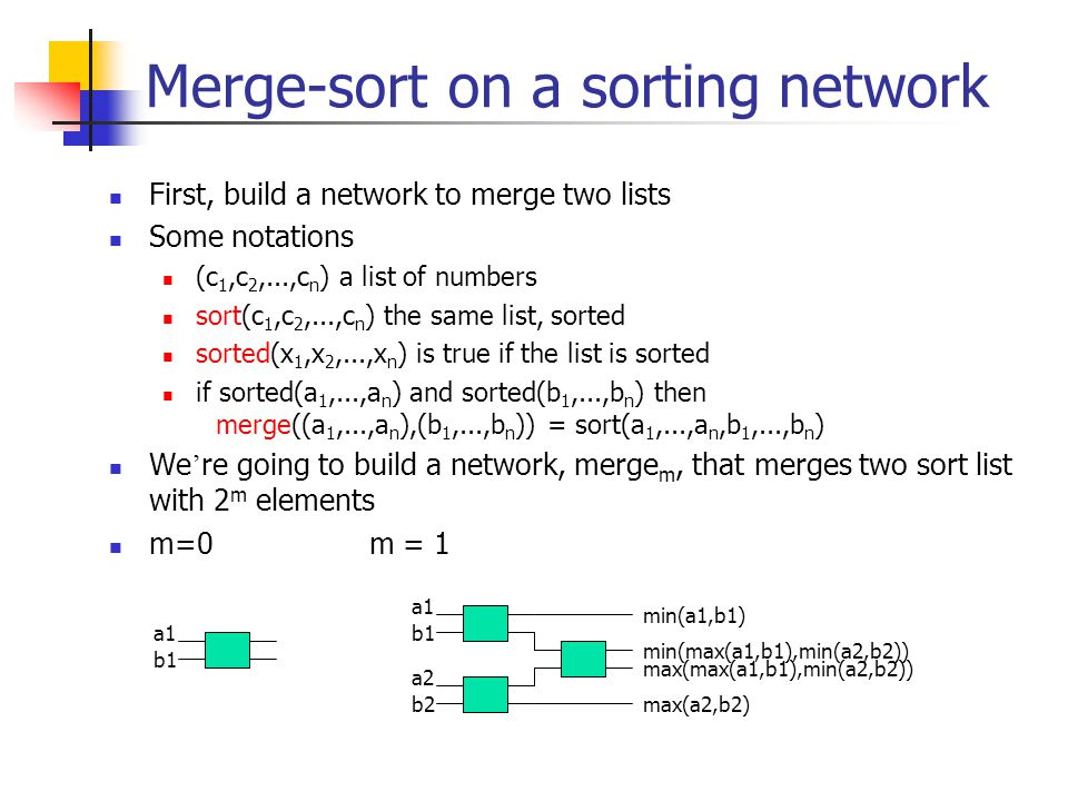Merge-sort on a sorting network