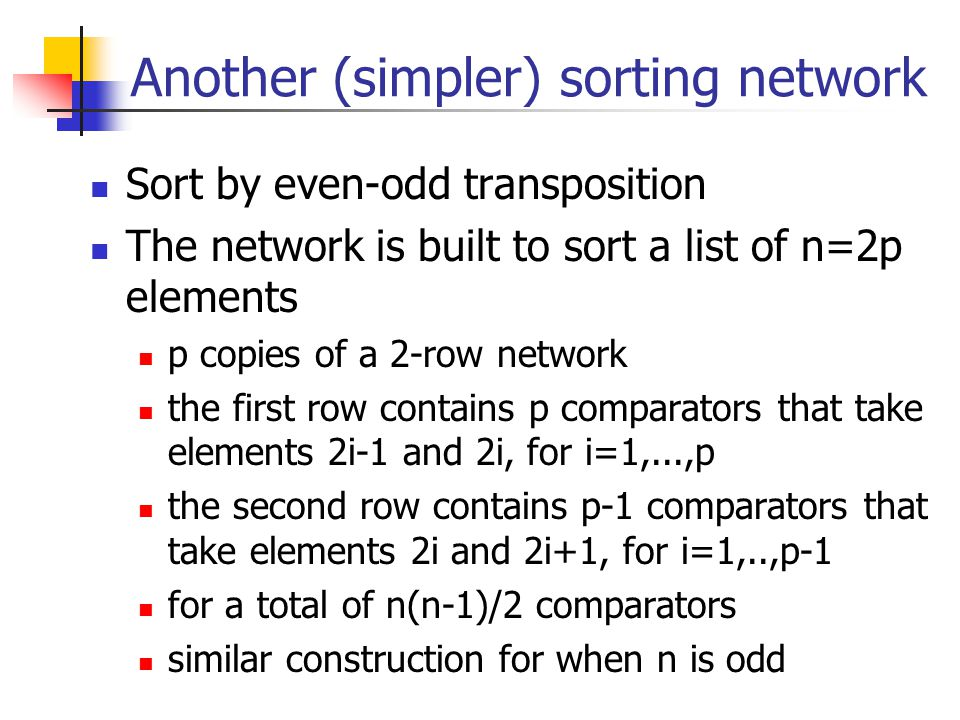 Another (simpler) sorting network
