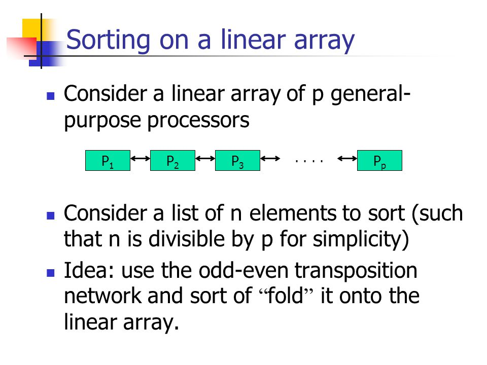 Sorting on a linear array