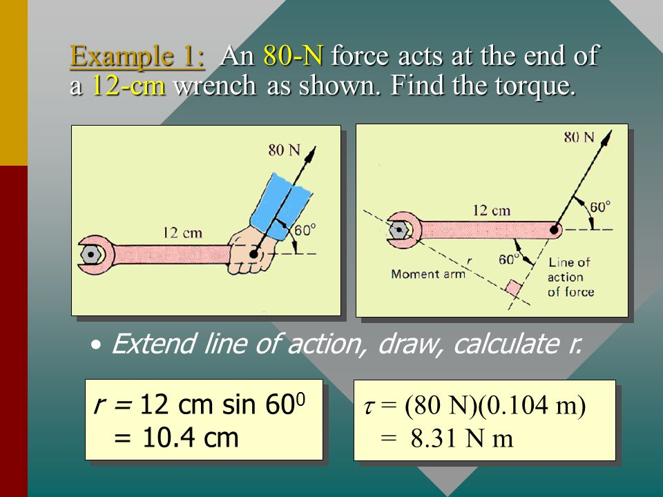 Extend line of action, draw, calculate r.