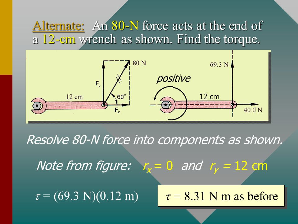 Alternate: An 80-N force acts at the end of a 12-cm wrench as shown