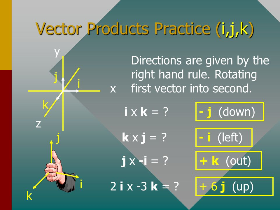 Vector Products Practice (i,j,k)