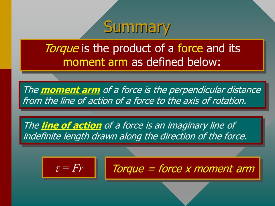 Summary Torque is the product of a force and its moment arm as defined below: