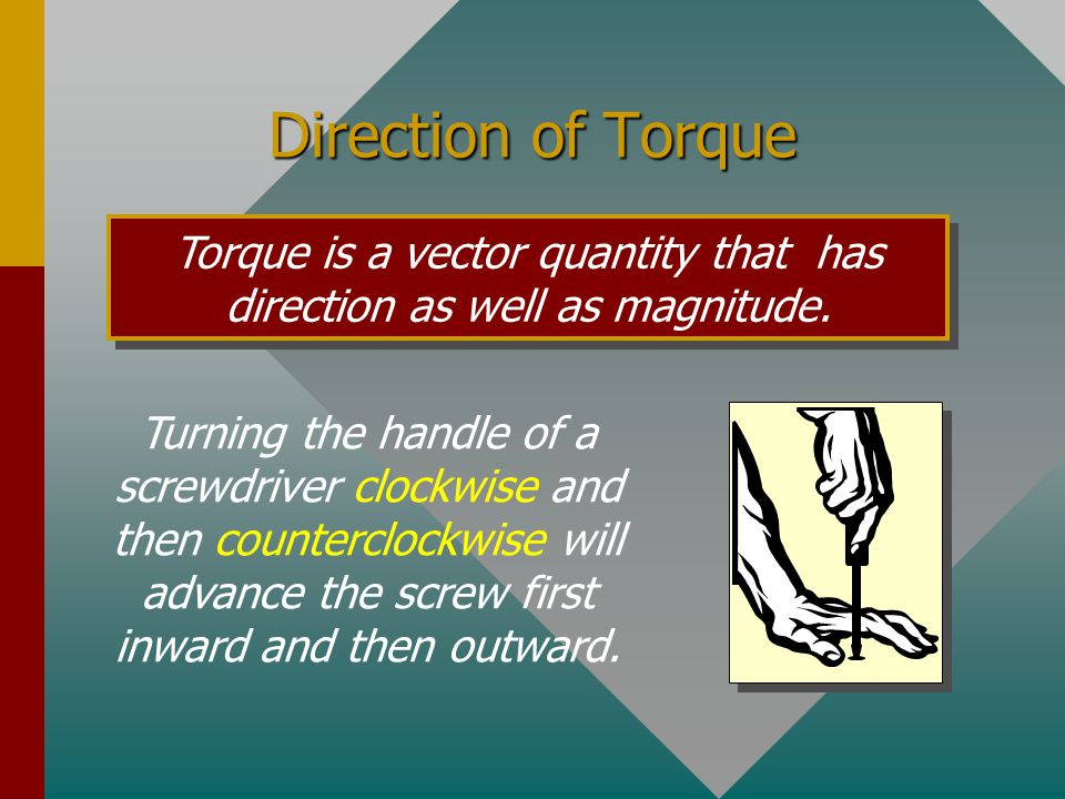 Torque is a vector quantity that has direction as well as magnitude.