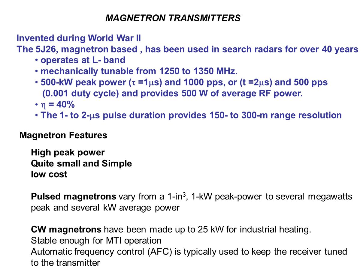 MAGNETRON TRANSMITTERS