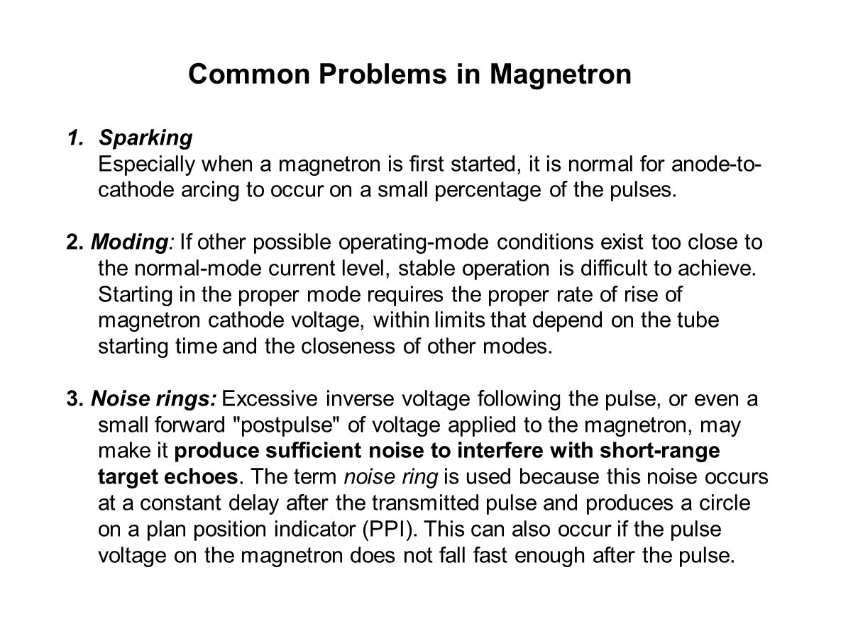 Common Problems in Magnetron