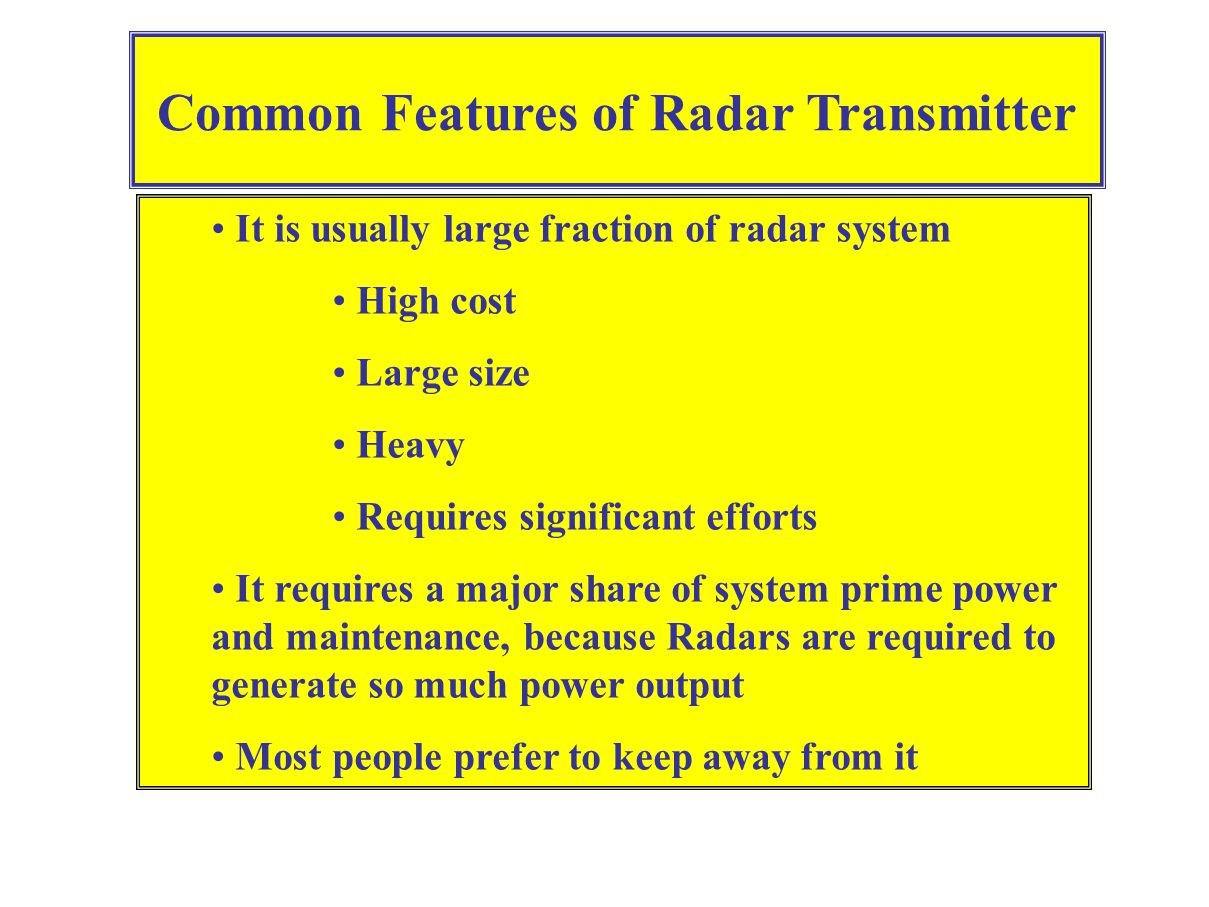 Common Features of Radar Transmitter