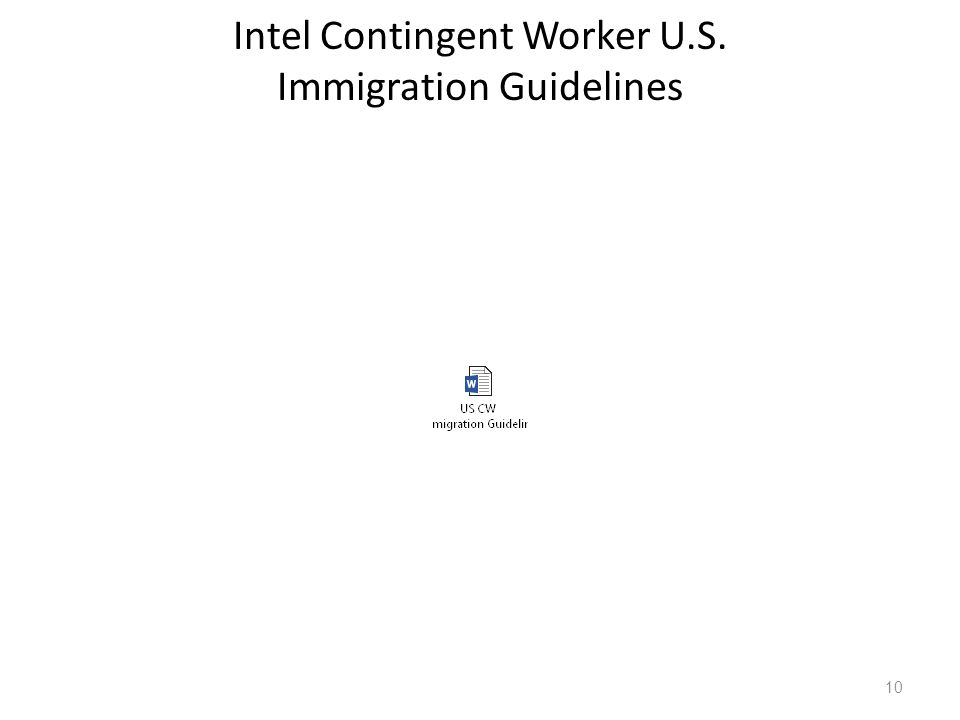 Intel Contingent Worker U.S. Immigration Guidelines