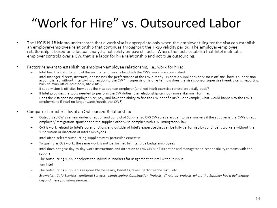 Work for Hire vs. Outsourced Labor