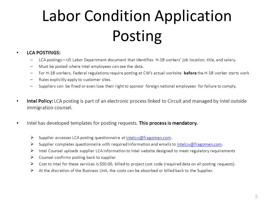 Labor Condition Application Posting