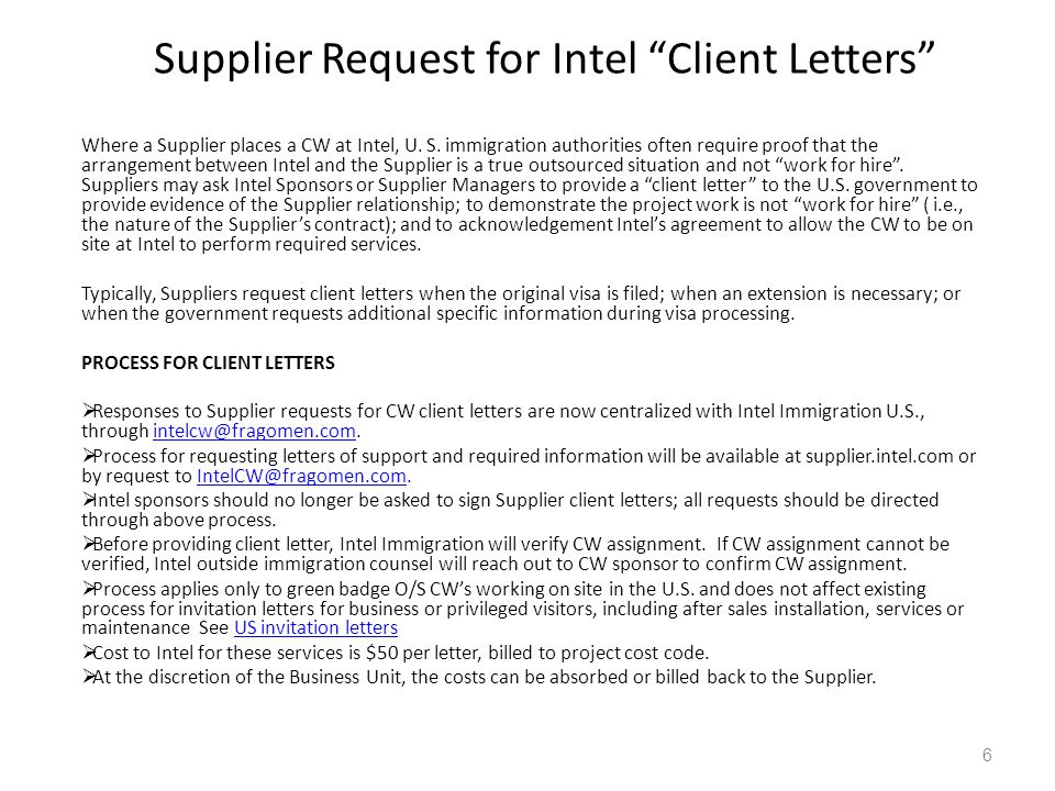 Supplier Request for Intel Client Letters