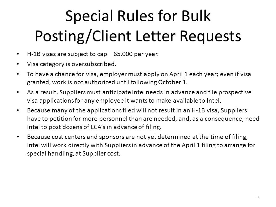Special Rules for Bulk Posting/Client Letter Requests