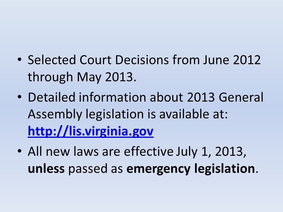 Selected Court Decisions from June 2012 through May 2013.