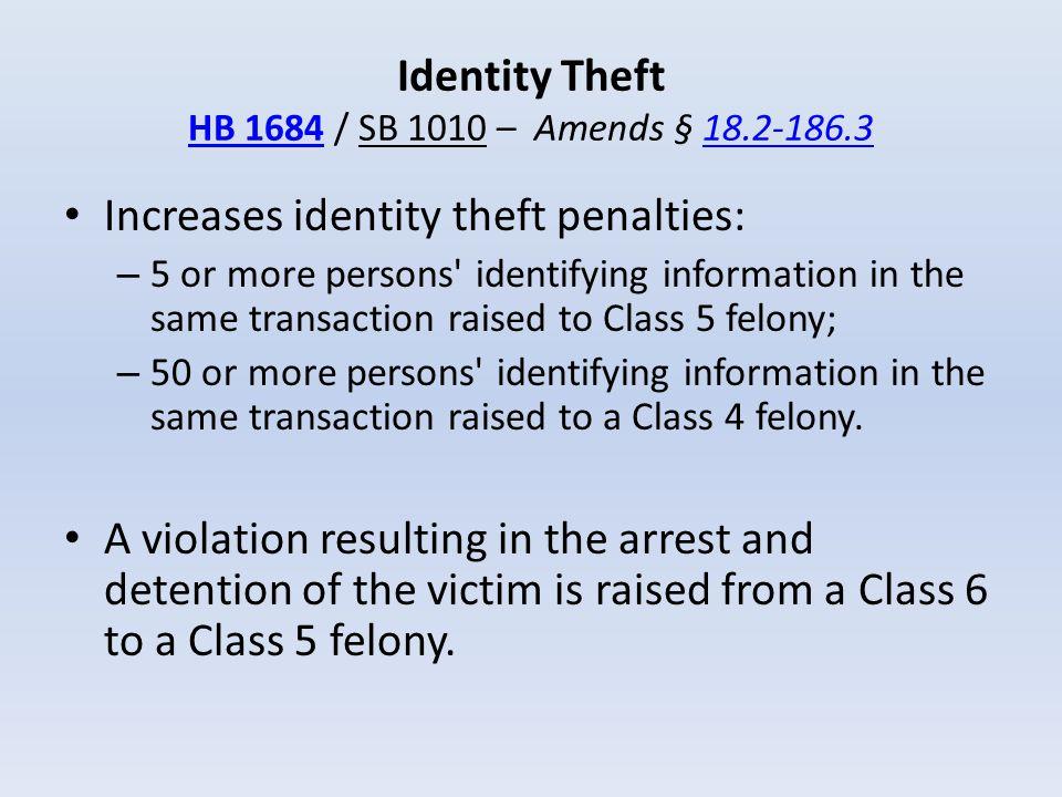 Identity Theft HB 1684 / SB 1010 – Amends § 18.2-186.3