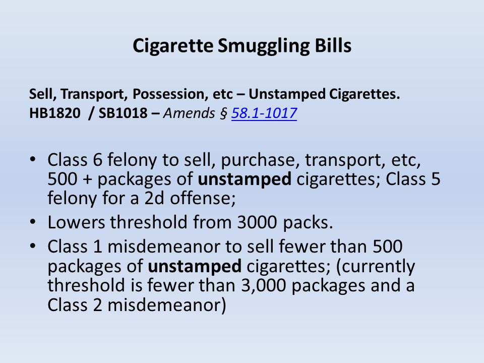 Cigarette Smuggling Bills