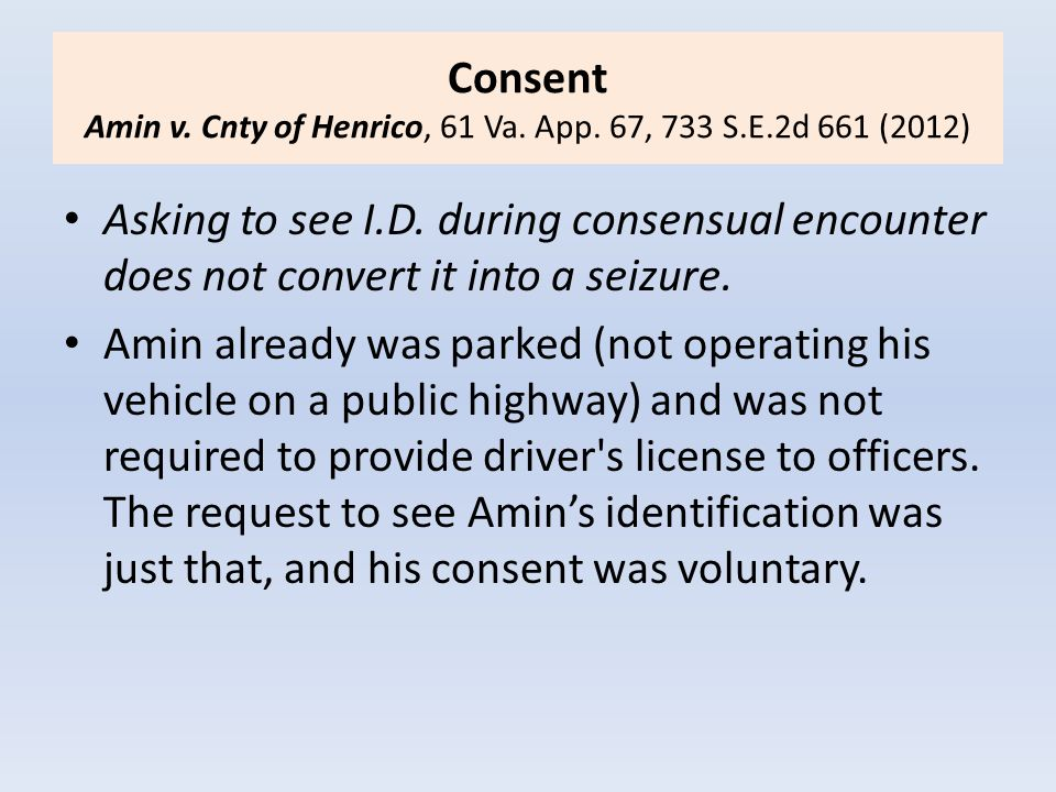 Consent Amin v. Cnty of Henrico, 61 Va. App. 67, 733 S.E.2d 661 (2012)