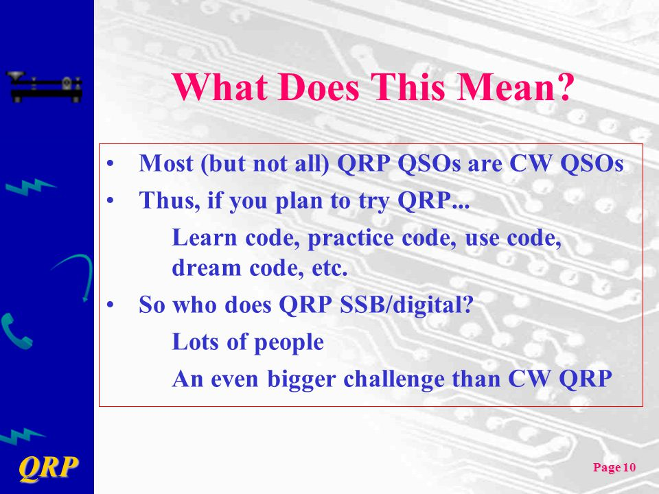 What Does This Mean Most (but not all) QRP QSOs are CW QSOs