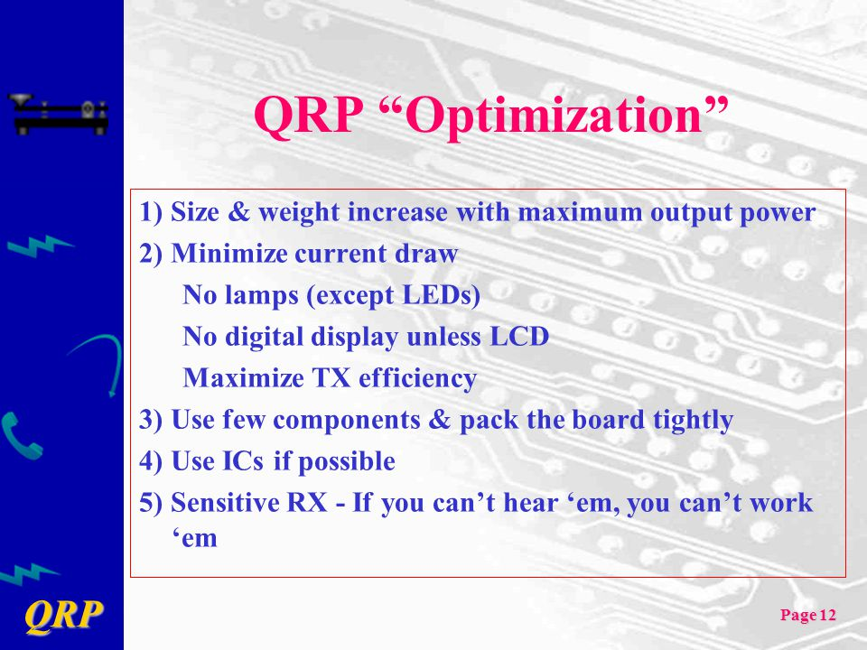QRP Optimization 1) Size & weight increase with maximum output power