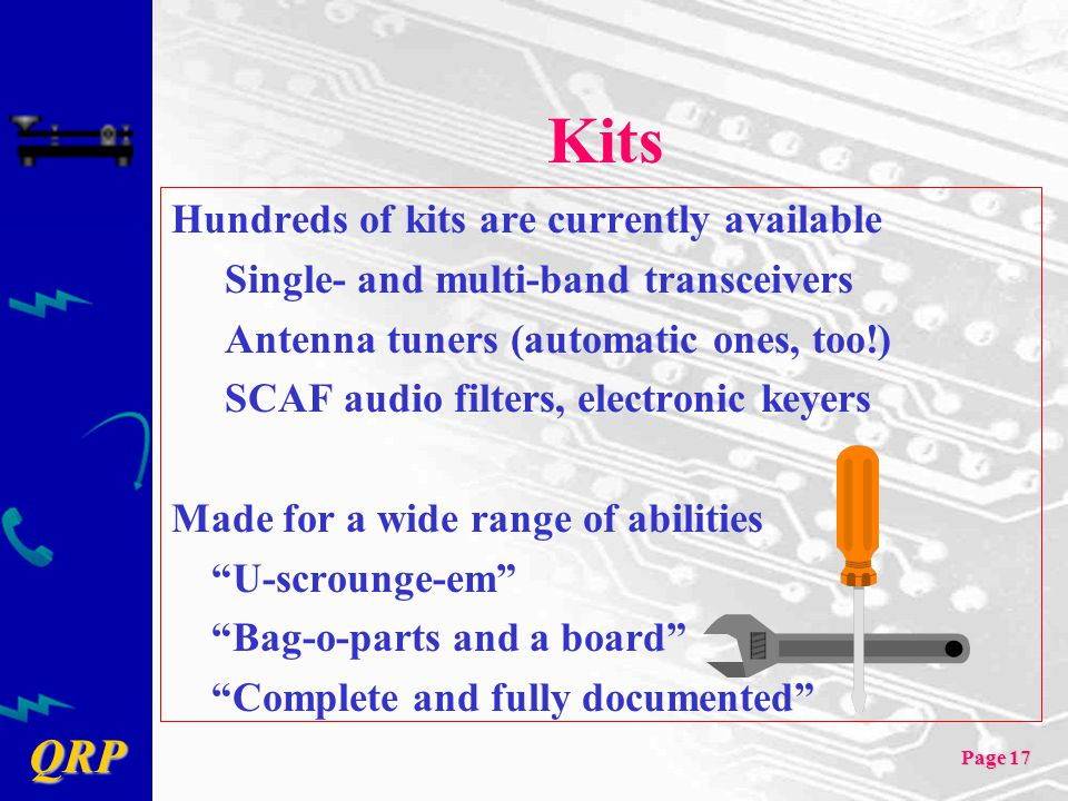 Kits Hundreds of kits are currently available