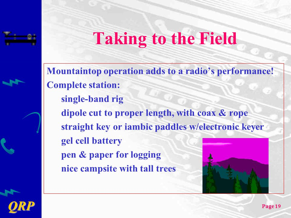 Taking to the Field Mountaintop operation adds to a radio's performance! Complete station: single-band rig.