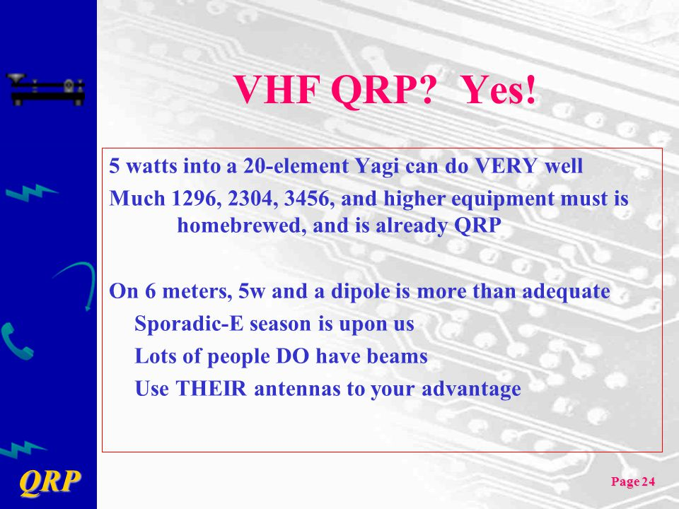 VHF QRP Yes! 5 watts into a 20-element Yagi can do VERY well