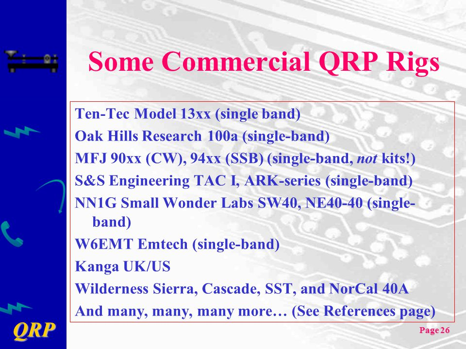 Some Commercial QRP Rigs
