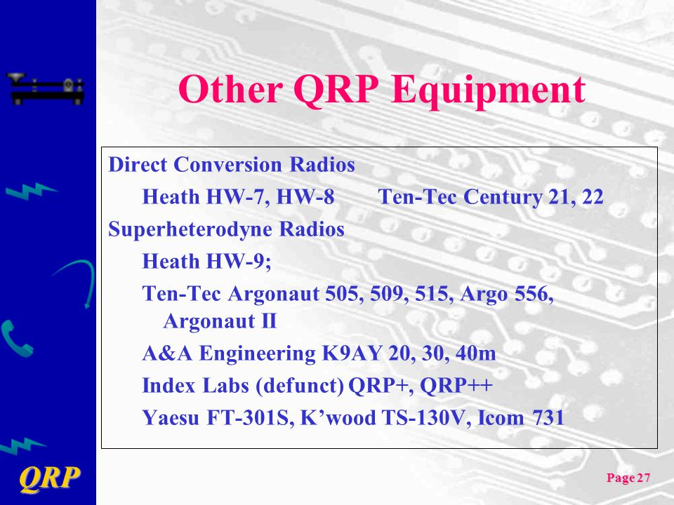 Other QRP Equipment Direct Conversion Radios