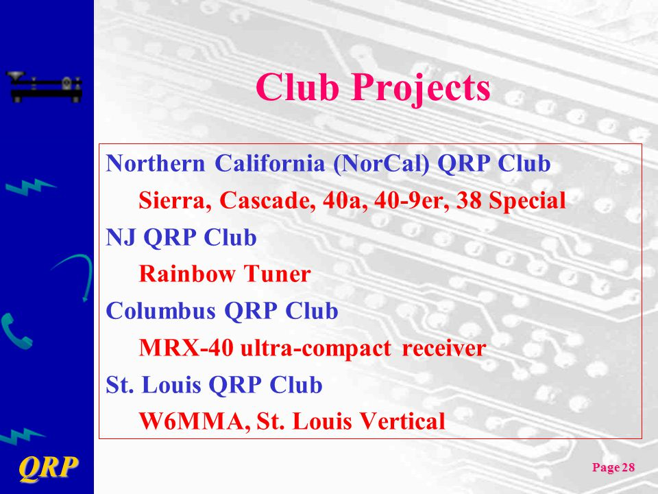 Club Projects Northern California (NorCal) QRP Club
