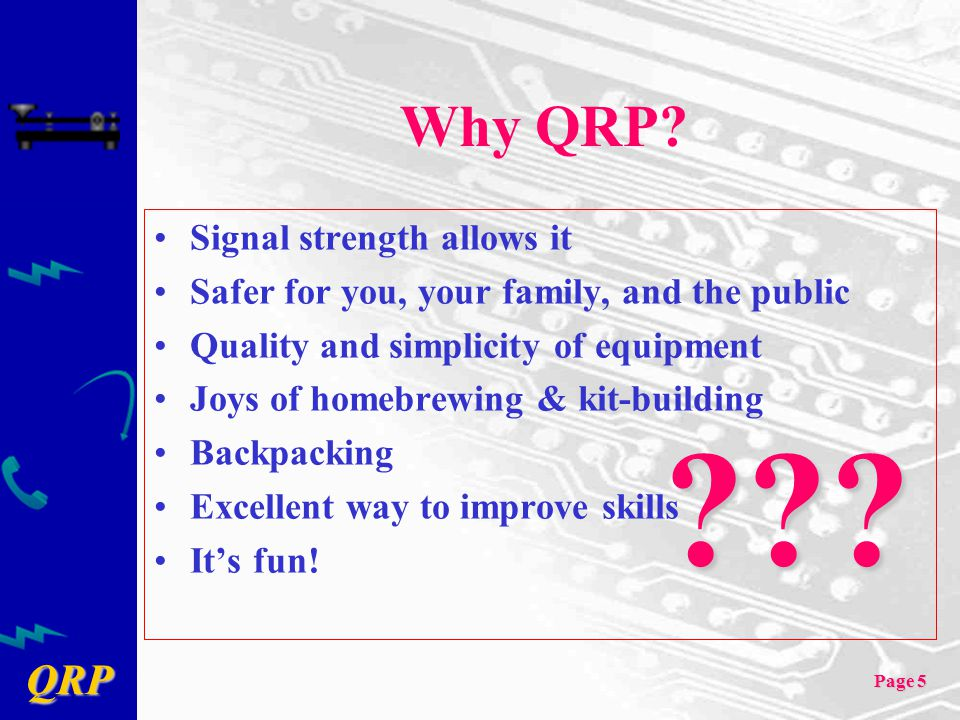 Why QRP Signal strength allows it