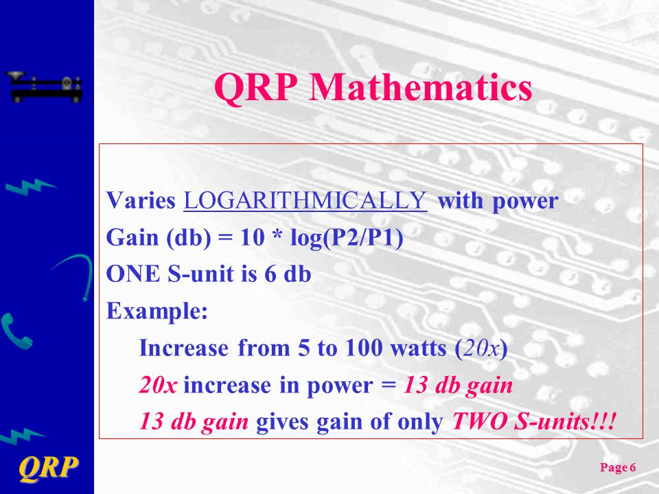 QRP Mathematics Varies LOGARITHMICALLY with power