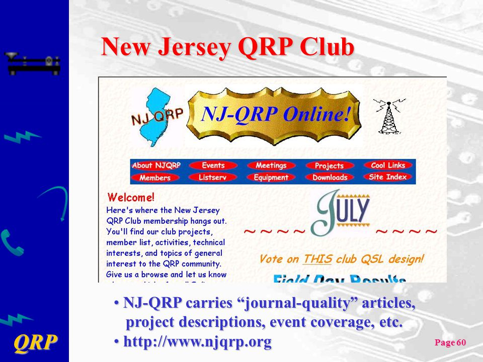 New Jersey QRP Club NJ-QRP carries journal-quality articles,