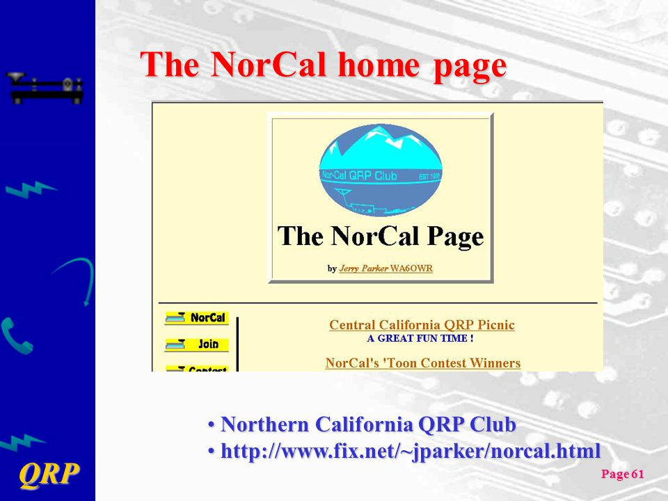 The NorCal home page Northern California QRP Club