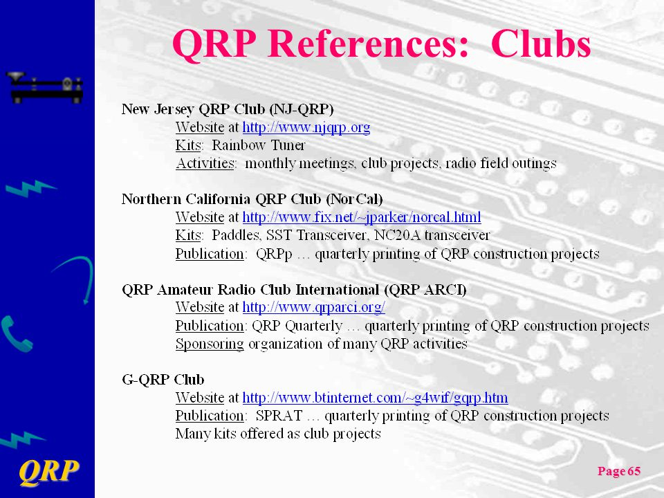 QRP References: Clubs