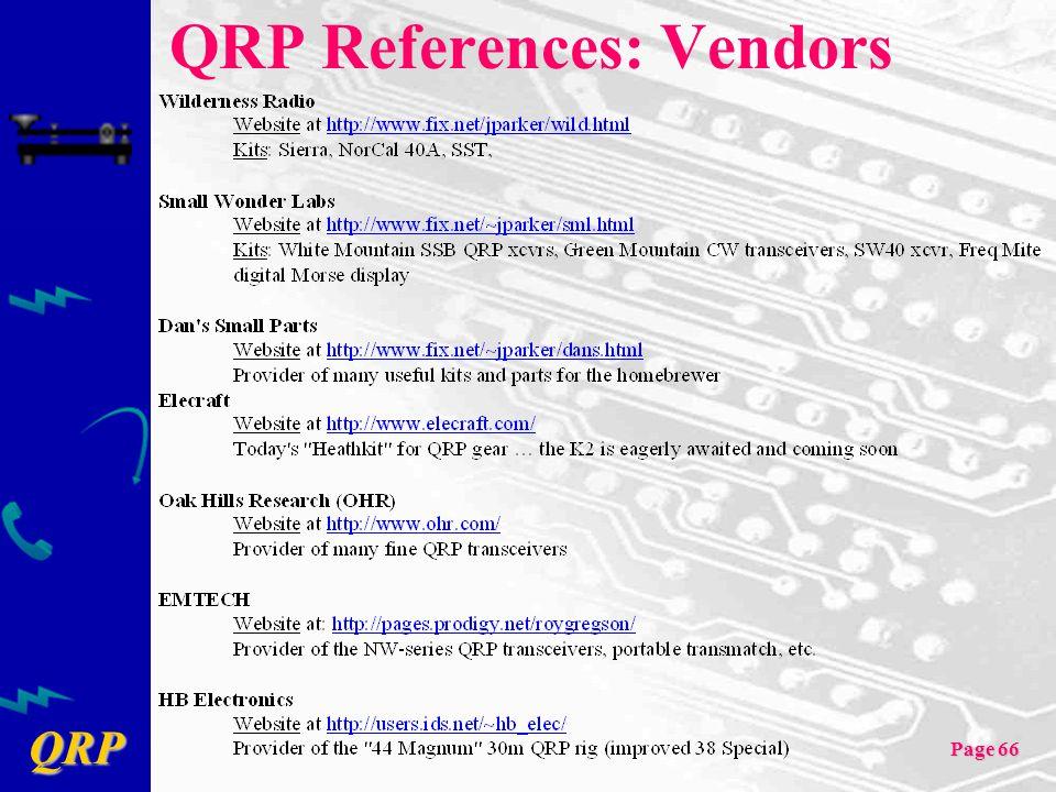 QRP References: Vendors
