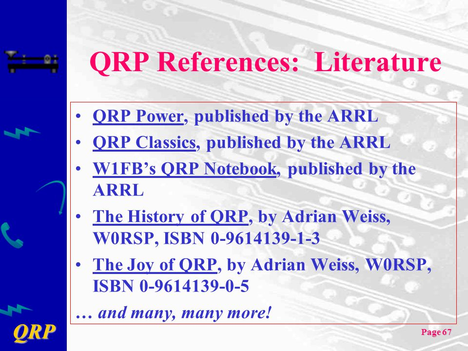 QRP References: Literature