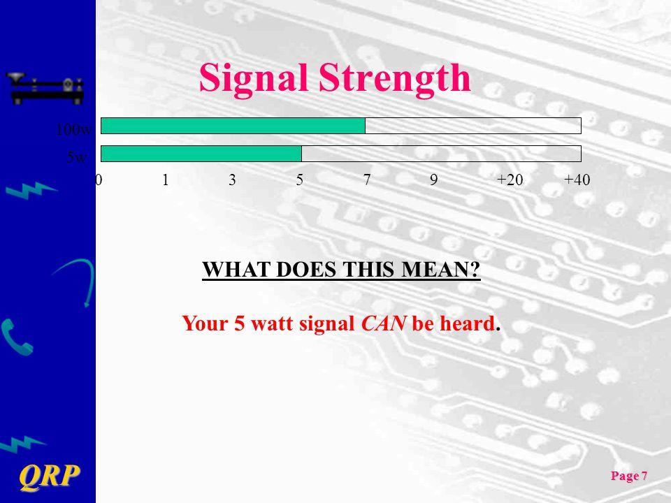 Your 5 watt signal CAN be heard.