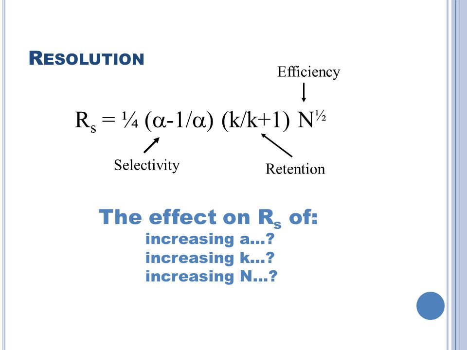 Rs = ¼ (a-1/a) (k/k+1) N½ The effect on Rs of: Resolution Efficiency