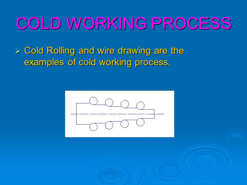 COLD WORKING PROCESS Cold Rolling and wire drawing are the examples of cold working process.