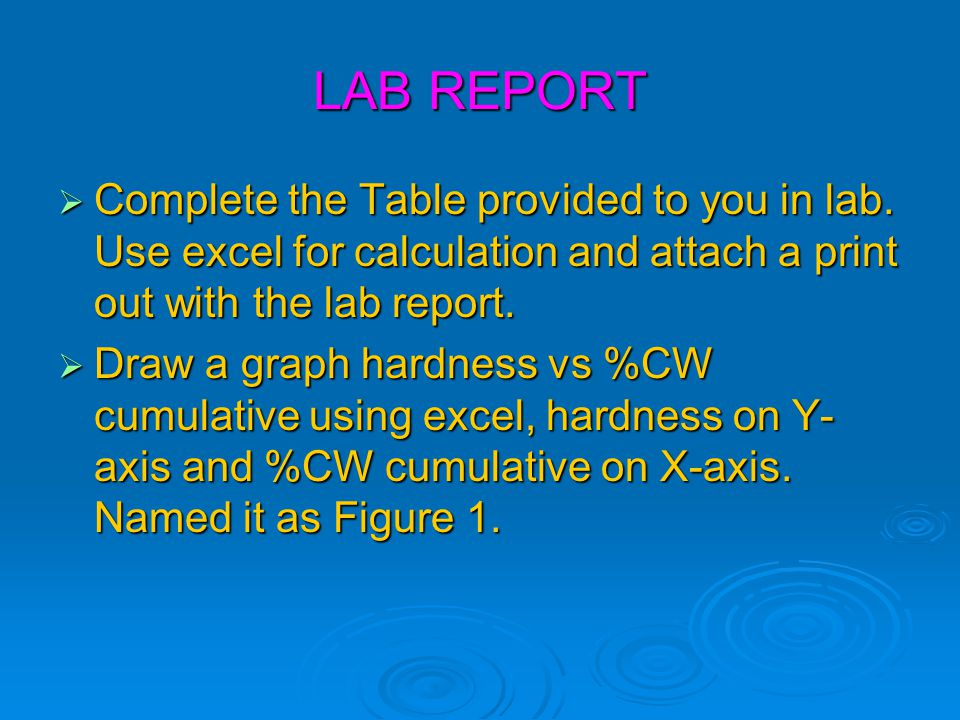 LAB REPORT Complete the Table provided to you in lab. Use excel for calculation and attach a print out with the lab report.