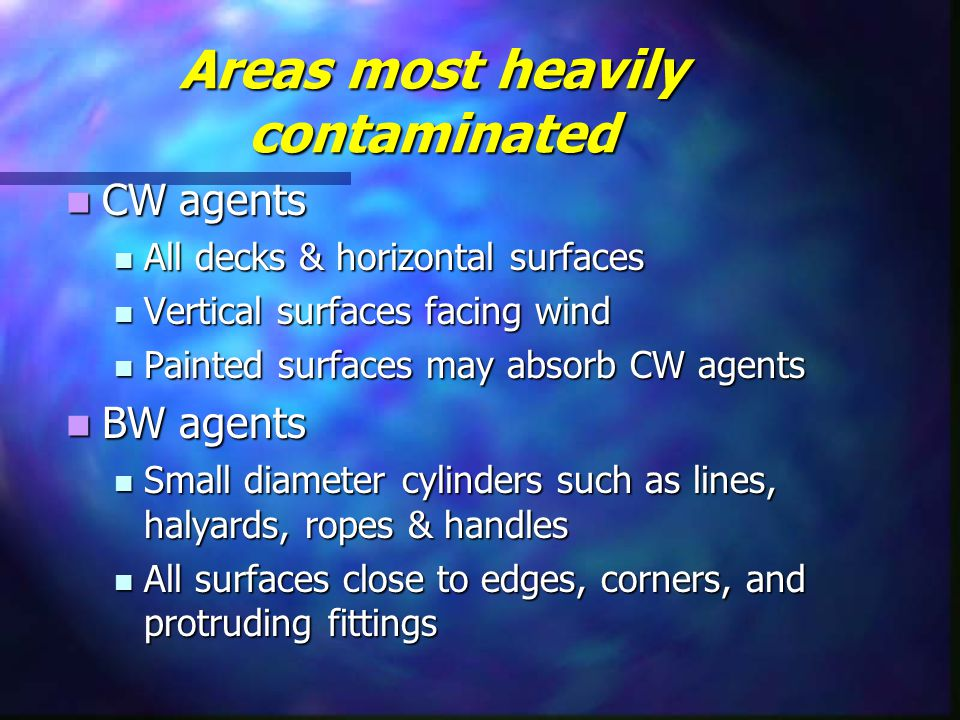 Areas most heavily contaminated