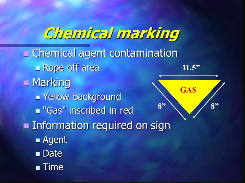 Chemical marking Chemical agent contamination Marking
