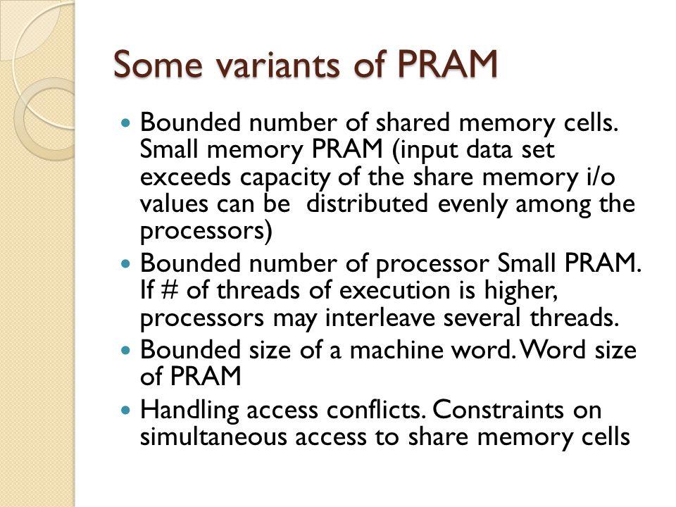 Some variants of PRAM