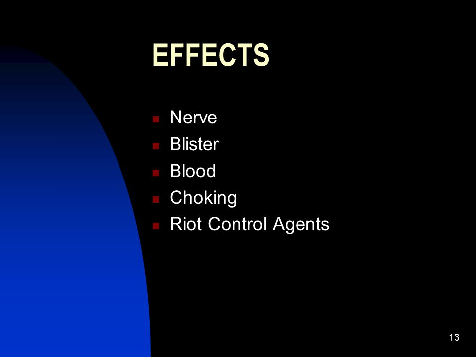 EFFECTS Nerve Blister Blood Choking Riot Control Agents
