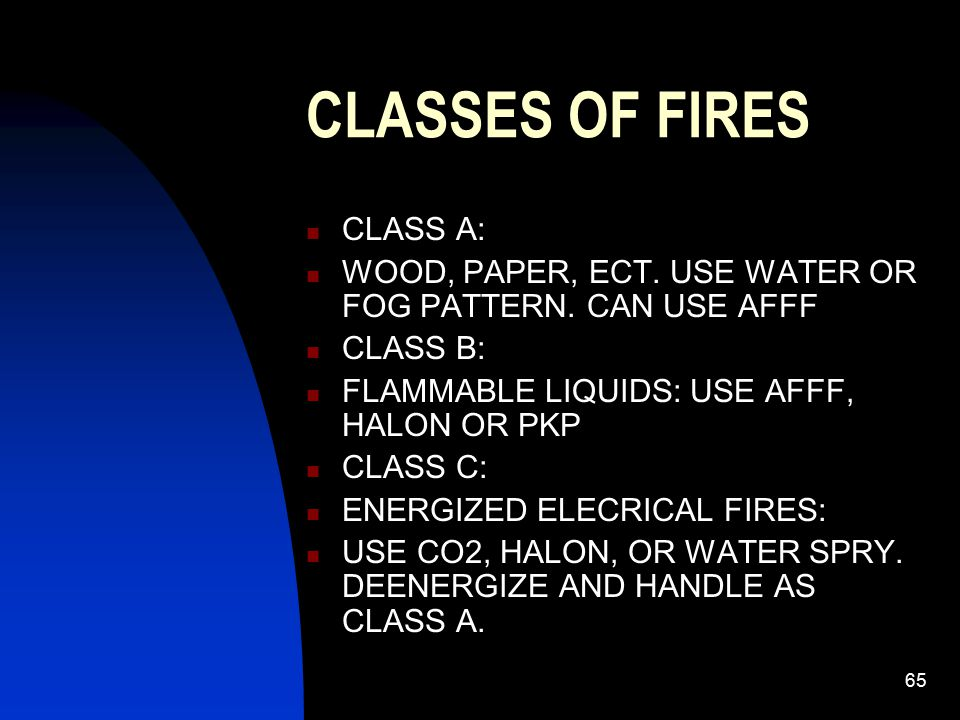 CLASSES OF FIRES CLASS A: