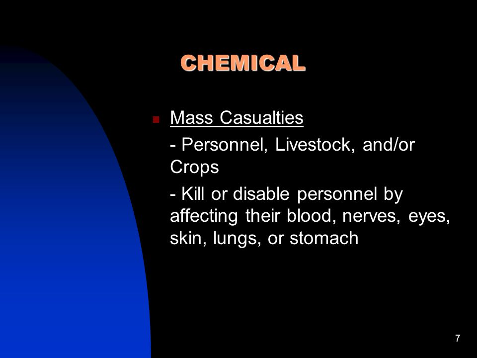 CHEMICAL Mass Casualties - Personnel, Livestock, and/or Crops