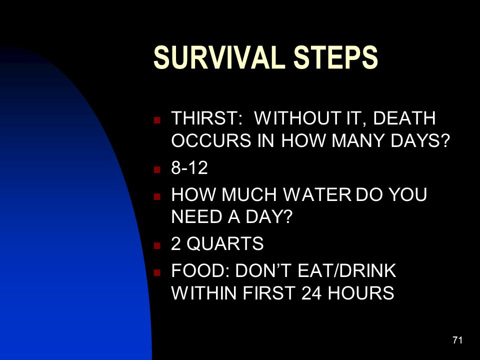 SURVIVAL STEPS THIRST: WITHOUT IT, DEATH OCCURS IN HOW MANY DAYS 8-12