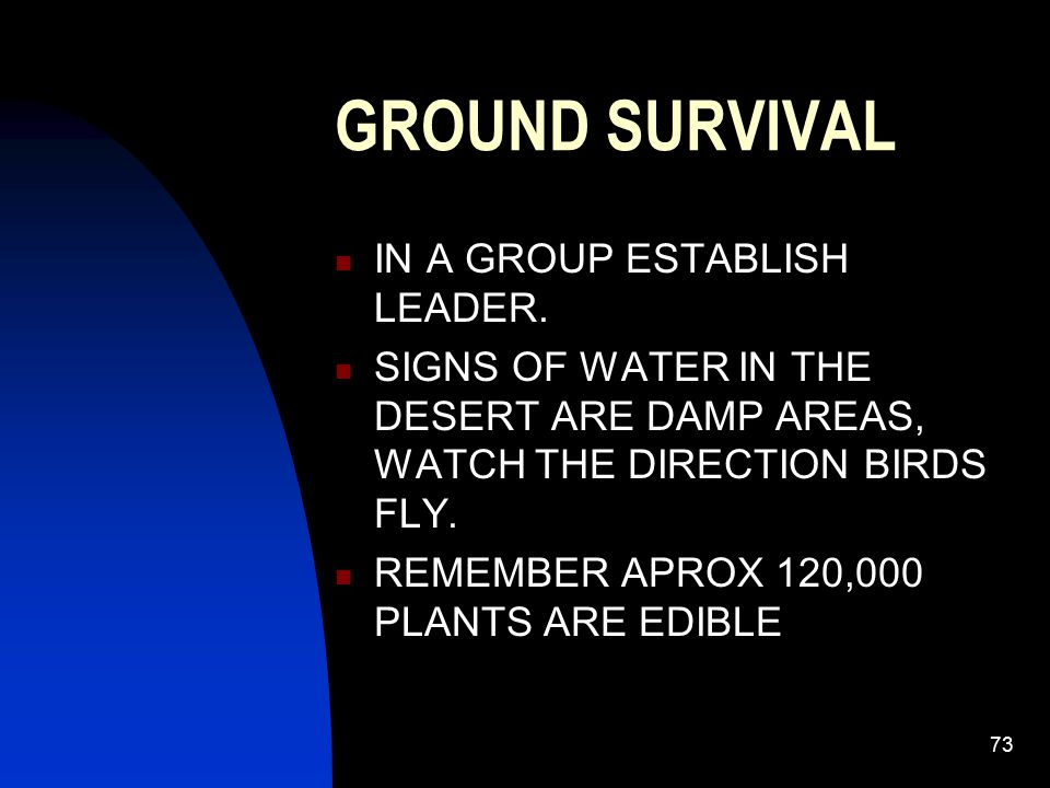 GROUND SURVIVAL IN A GROUP ESTABLISH LEADER.