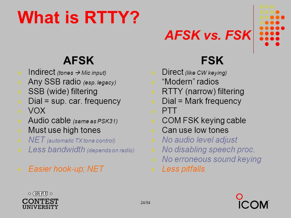 What is RTTY AFSK vs. FSK AFSK FSK Indirect (tones  Mic input)