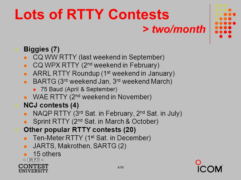 Lots of RTTY Contests > two/month